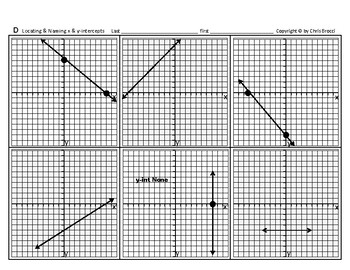 Pre-Graphing 02: Locating Locate & Naming Name x- and y-intercepts  + QUIZ