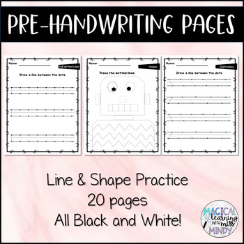 Pre-Handwriting Pages - TWENTY Pages! Lined & Shape practice (no prep!)
