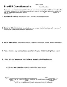 Attractive Pre IEP Meeting Parent Feedback Form (EDITABLE)