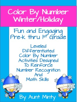 Pre-K - 1st Grade Leveled Math Color Pages, Winter/Holiday Themes