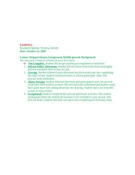 Pre K-2nd Grading Sheet for Art