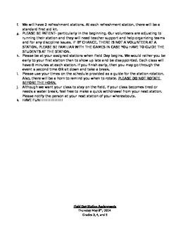 Pre-K-5th Grade Field Day Packet