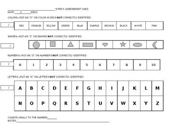 Pre-K Assessment Card
