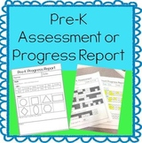 Pre-K Assessment or Progress Report - EDITABLE