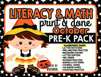 Literacy & Math Pre-K Skills Worksheet Pack-Print and Done-Halloween Theme