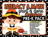 Literacy & Math Pre-K Skills Worksheet Pack-Print and Done