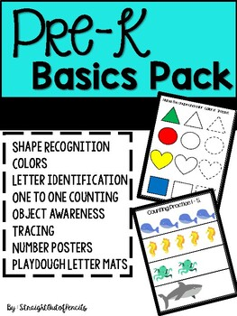Pre-K Basics Activities - Shapes, Numbers, Counting, Alphabet Letters, Tracing
