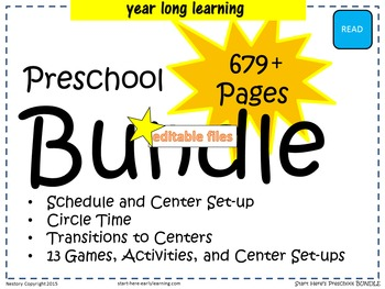 Pre-K Bundle - year long learning - 679+ pages of plans, games, and activities