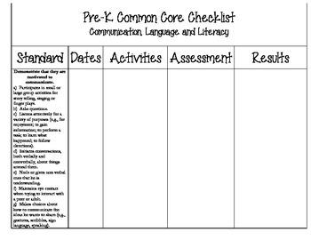Pre-K CCSS Checklist