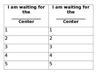 Pre K Center Sign Up Sheet