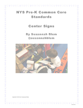 Pre-K Center Signs NYS Common Core Standards Aligned