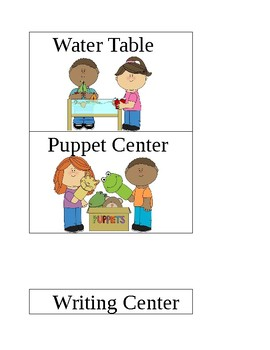 Pre-K Center Signs and choice time signs