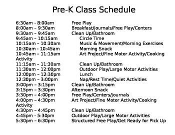 Pre-K Class Schedule