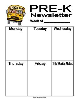 Pre-K Classroom Newsletter