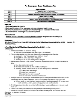 Pre K College and Career Lesson Plan