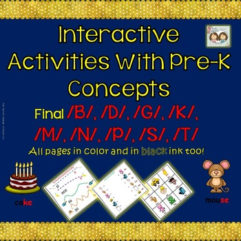 Speech Therapy: Interacting With Pre-K Concepts Targeting Final Sounds In Words