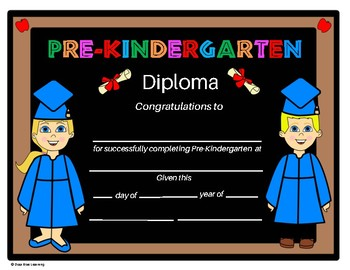 Pre-K Diploma - Chalkboard Kids Theme - Editable