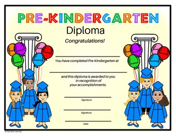 Pre-K Diploma - Kids with Balloons Theme - Editable