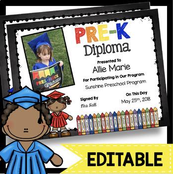Pre-K Diplomas - EDITABLE - Chalkboard - PreK