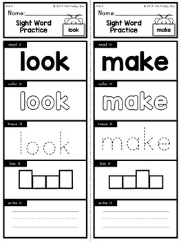Pre-K - Dolce Sight Words - Practice Strips