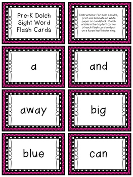 Pre-K Dolch Sight Word Resource Pack (Pre-Primer)