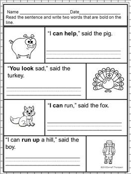 "Reading Pre-K ""Sight Word Sentences"" (Worksheets)"