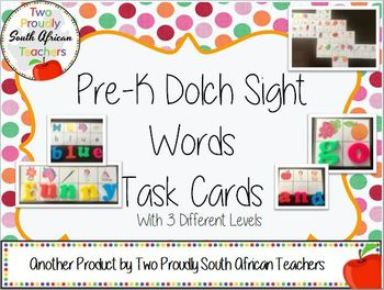 Pre-K Dolch Sight Words Activity Tasks