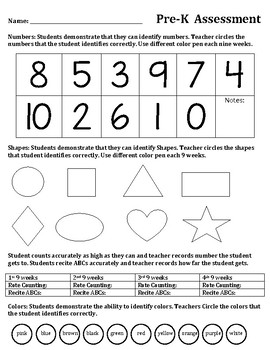 Pre-K ELA Reading Letters, Math, Shapes, Colors Yearlong Assessment Tool