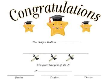 Pre-K End of School Certificate