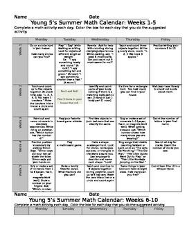 Pre-K Eureka Math Summer Calendar 10 Weeks