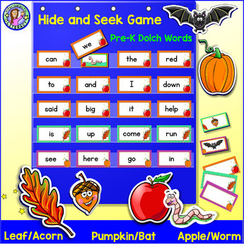 Pre-K: FALL Dolch Sight Word Cards/Pocket Chart Game