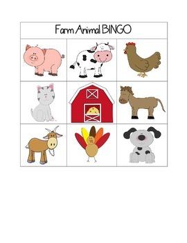 Pre-K Farm Animal BINGO
