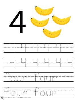 Pre-K Fruit Number Tracing 1-10