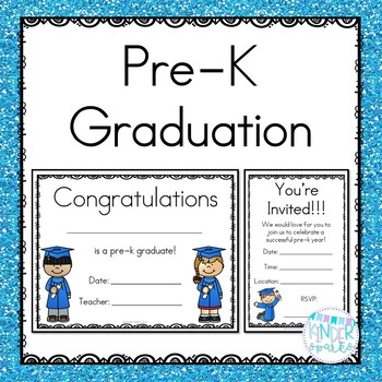 pre k graduation certificate invitation packet by kinder sparks