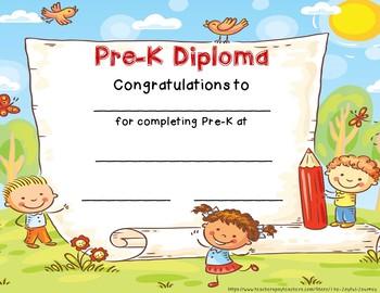 Pre-K Diploma  Pre-K Graduation Certificate