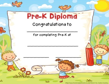 pre k diploma pre k graduation certificate by the joyful journey