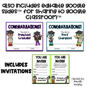 PreK or Preschool Graduation Certificates Diplomas and Invitations Editable