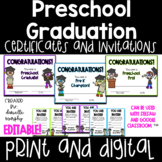 PreK or Preschool Graduation Certificates Diplomas and Inv