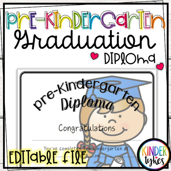 Pre-K Graduation Diploma with EDITABLE file (Girl Graduate)