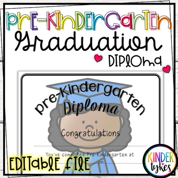Pre-K Graduation Diploma with EDITABLE file (Girl Graduate)