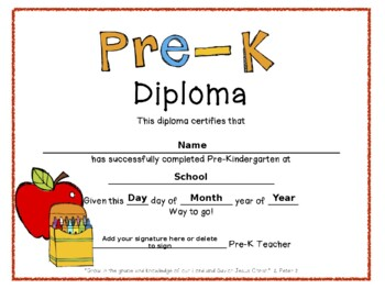 pre k graduation diplomas by bethany riethmaier tpt