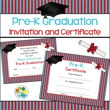 pre k graduation invitation certificate by apples to applique tpt