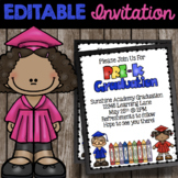 Pre-K Graduation Invitations - Prek End of the Year Party - Editable Invitation