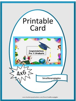 image relating to Printable Graduation Card referred to as Pre-K Commencement card, Electronic Obtain, Instantaneous Printable,