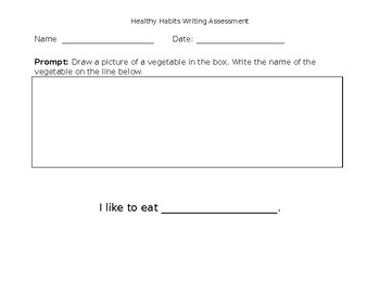 Pre K Healthy Habits Writing Assessment