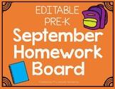 September Pre-K Homework Board (Editable)