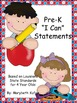 """Pre-K """"I Can"""" Statements based on Louisiana State Standards for Four Year Olds"""