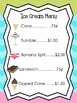 Pre-K Ice Cream Shop Sign and Menu