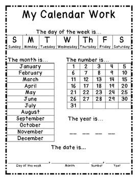 Pre-K-K Morning Calendar Work