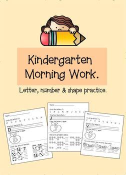 Pre-K-K Morning Work - Independent Work